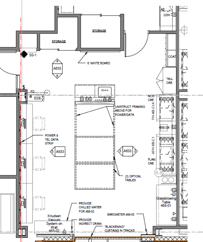 Laboratory floor plans physical chemistry teaching lab for Dental lab design layout